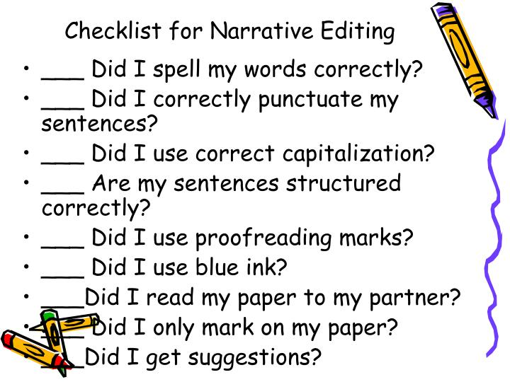 Checklist for Narrative Editing