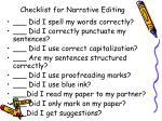 checklist for narrative editing
