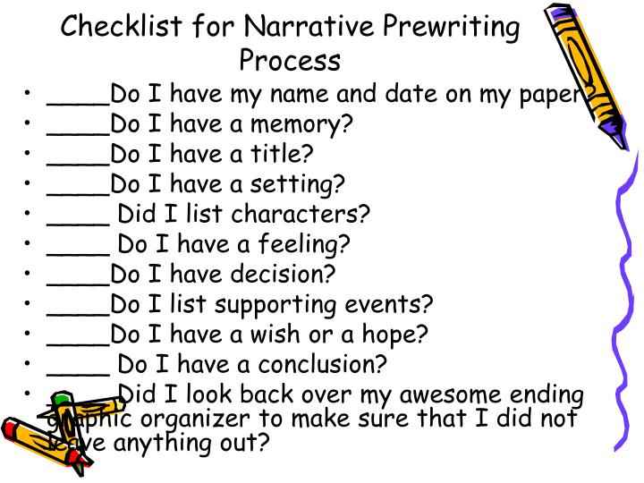 Checklist for Narrative Prewriting Process