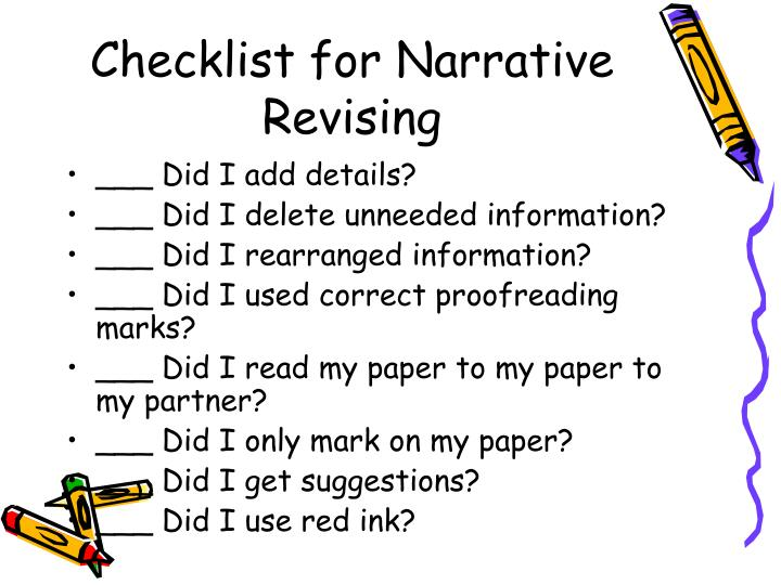 Checklist for Narrative Revising