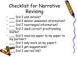 checklist for narrative revising