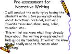 pre assessment for narrative writing