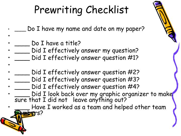 Prewriting Checklist