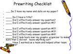 prewriting checklist