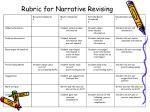 rubric for narrative revising