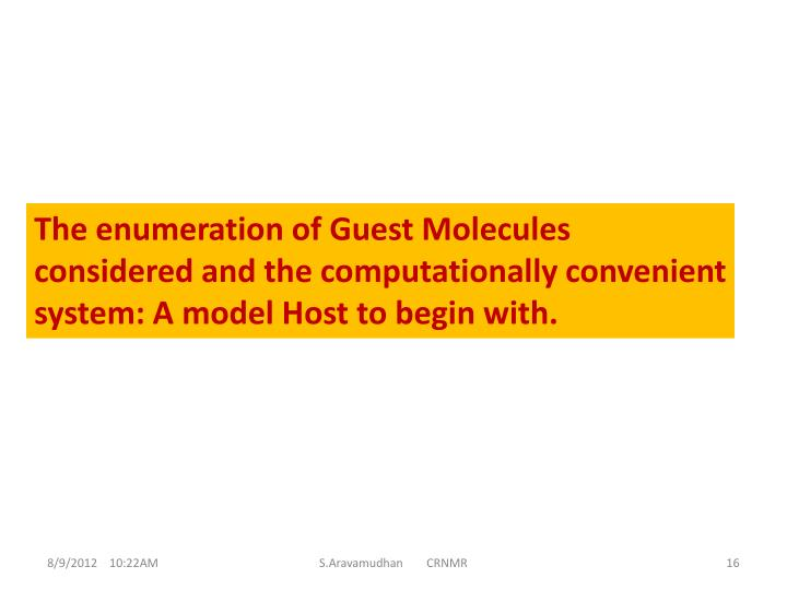 The enumeration of Guest Molecules considered and the computationally convenient system: A model Host to begin with.