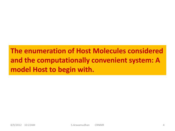 The enumeration of Host Molecules considered and the computationally convenient system: A model Host to begin with.