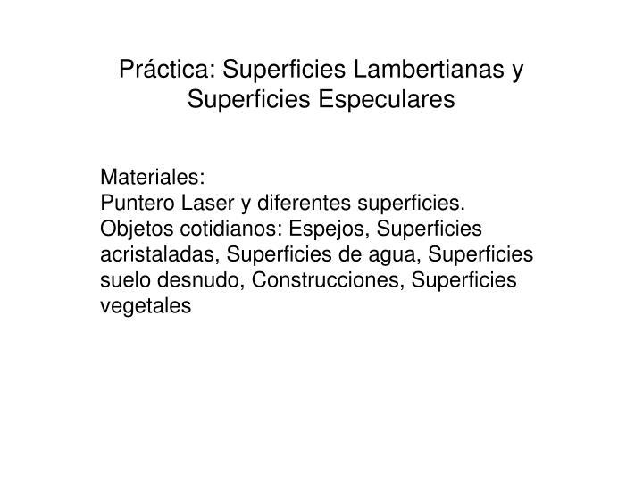 Práctica: Superficies Lambertianas y Superficies Especulares