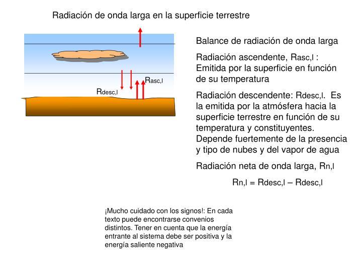 Radiación de onda larga en la superficie terrestre