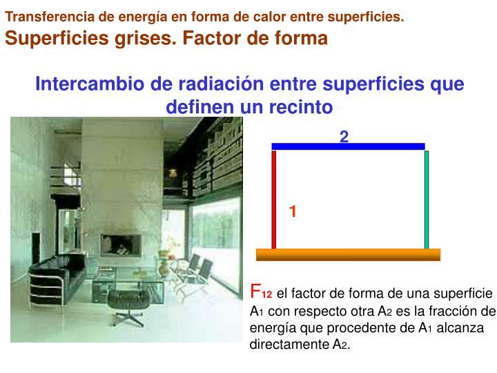 Transferencia de energía en forma de calor entre superficies.