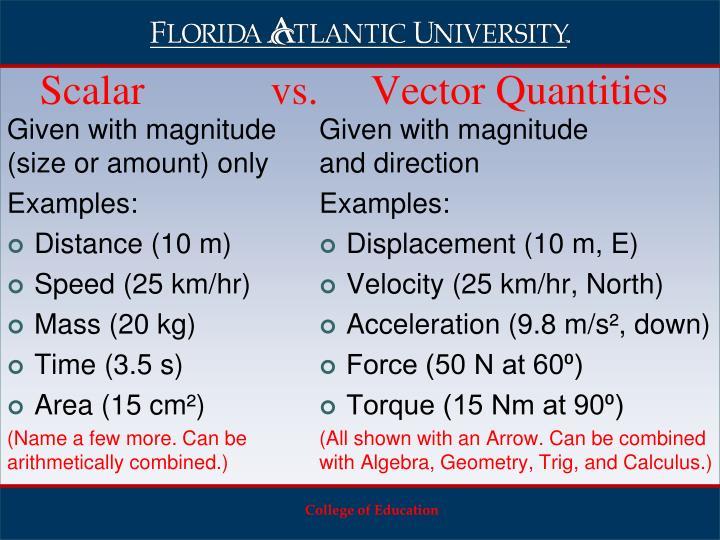 Scalar            vs.     Vector Quantities