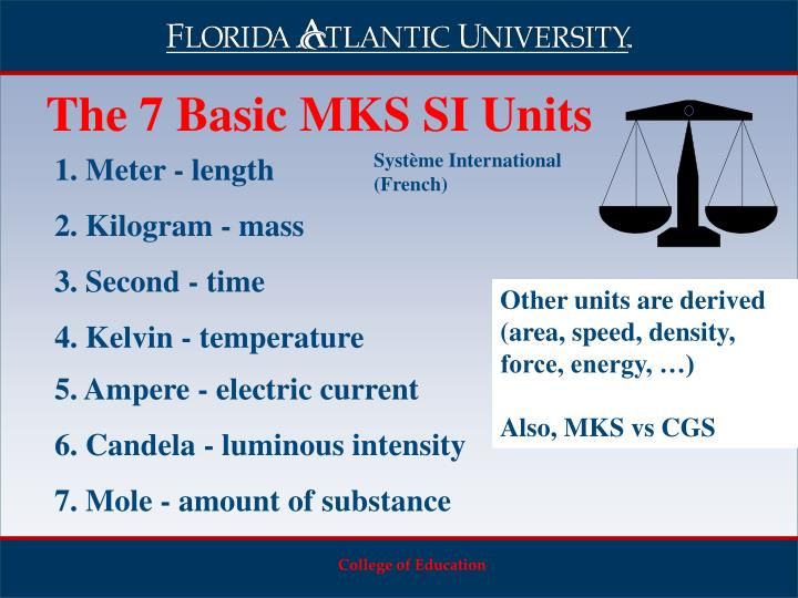 The 7 Basic MKS SI Units