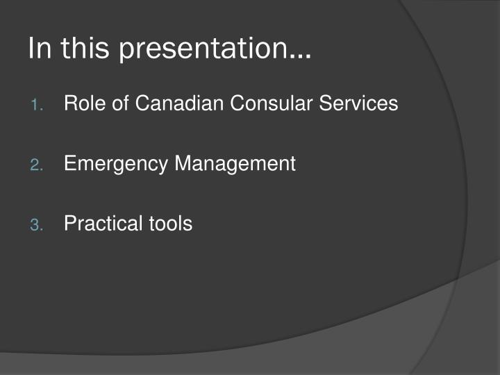 In this presentation…