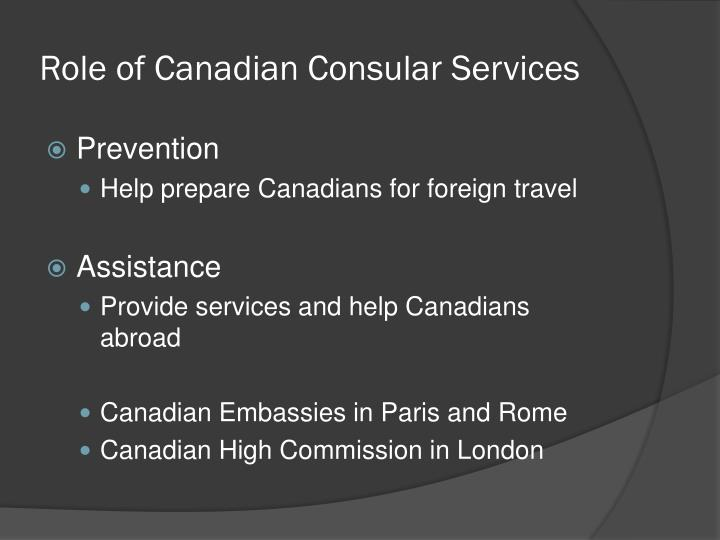 Role of Canadian Consular Services