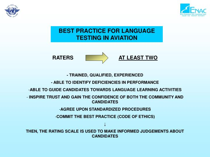 BEST PRACTICE FOR LANGUAGE TESTING IN AVIATION