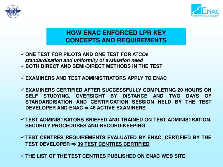 HOW ENAC ENFORCED LPR KEY CONCEPTS AND REQUIREMENTS