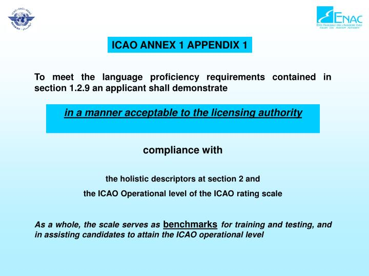 ICAO ANNEX 1 APPENDIX 1