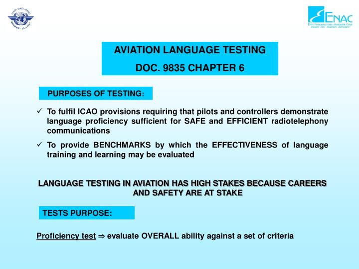 AVIATION LANGUAGE TESTING