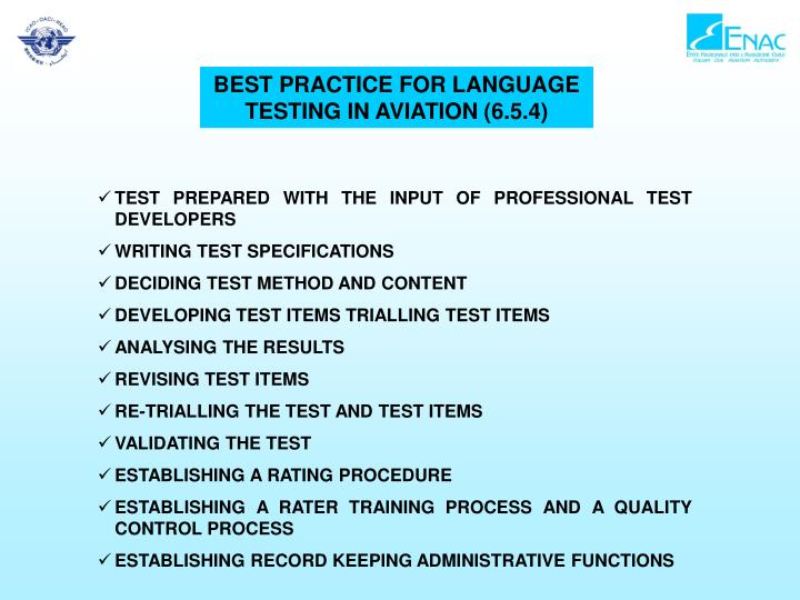 BEST PRACTICE FOR LANGUAGE TESTING IN AVIATION (6.5.4)