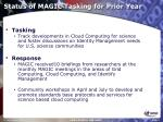 status of magic tasking for prior year