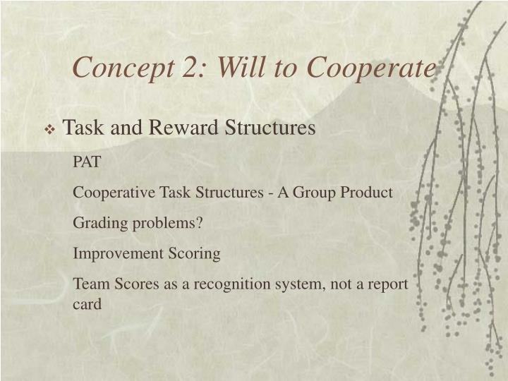 Concept 2: Will to Cooperate
