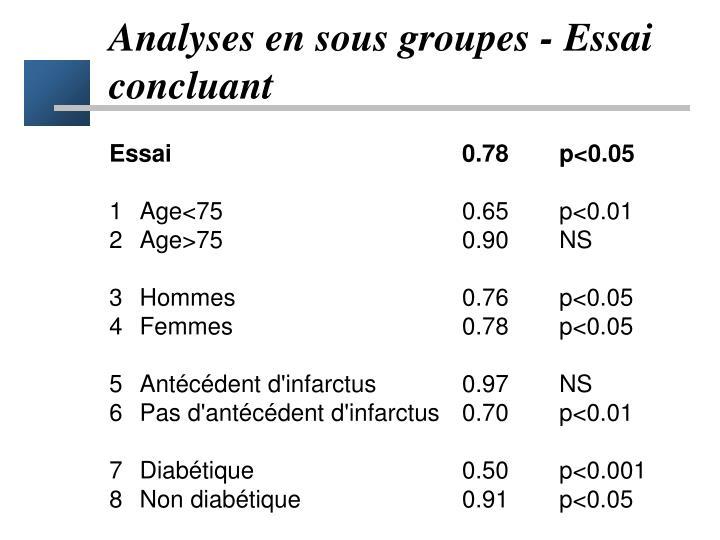 Analyses en sous groupes - Essai concluant