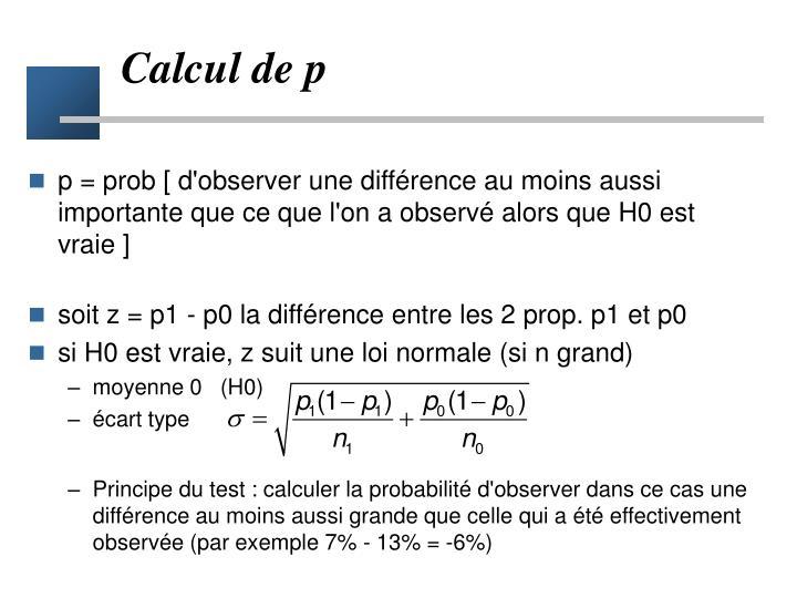 Calcul de p