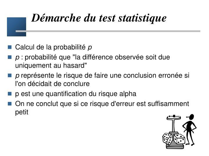 Démarche du test statistique
