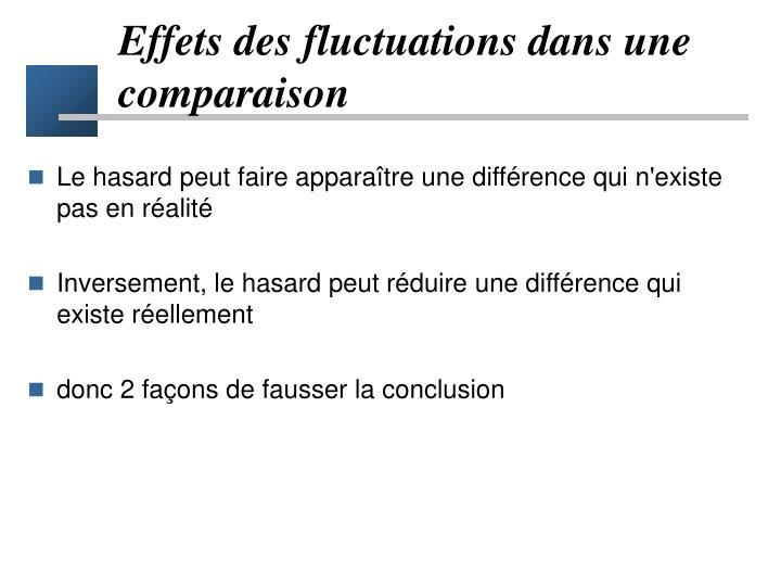 Effets des fluctuations dans une comparaison