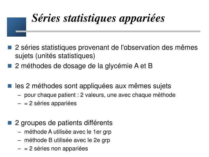 Séries statistiques appariées