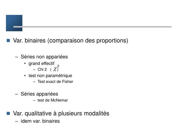 Var. binaires (comparaison des proportions)