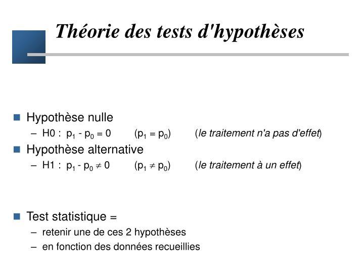 Théorie des tests d'hypothèses
