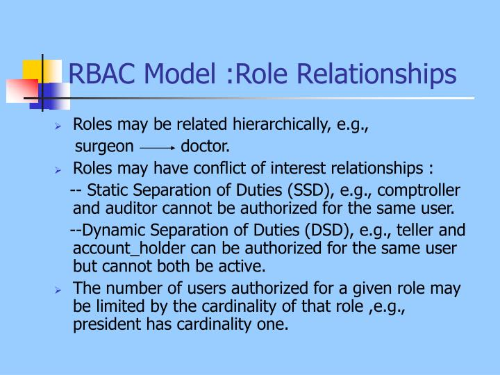 RBAC Model :Role Relationships