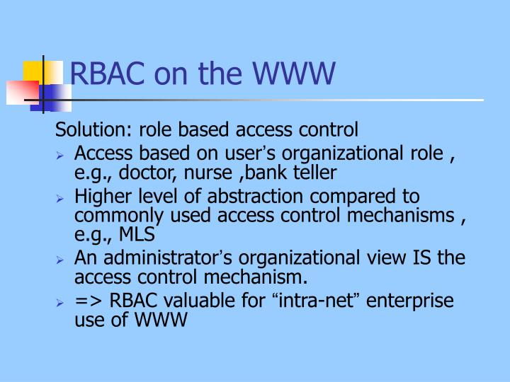 RBAC on the WWW