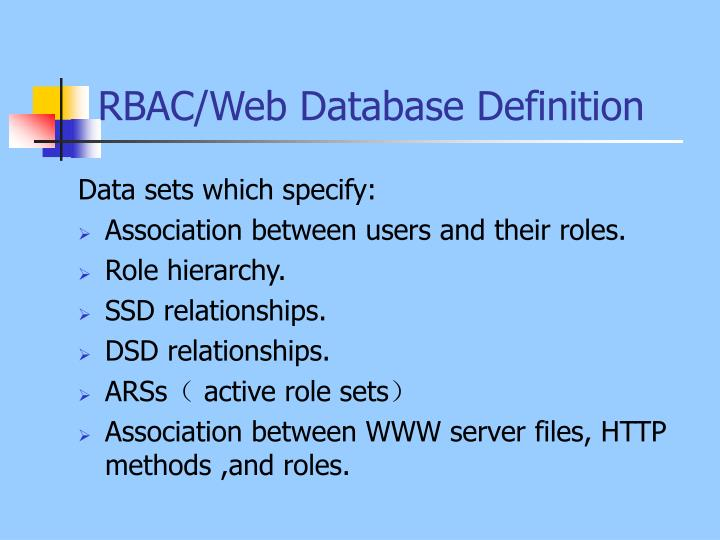 RBAC/Web Database Definition