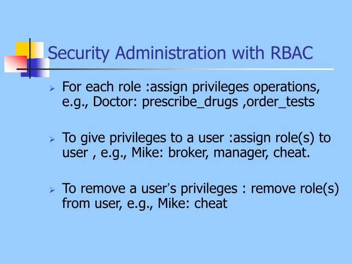 Security Administration with RBAC