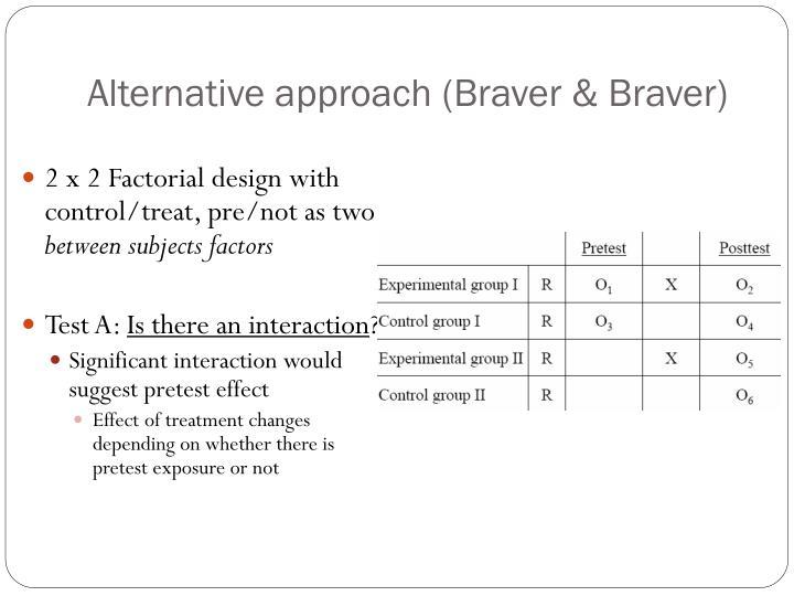 Alternative approach (Braver & Braver)