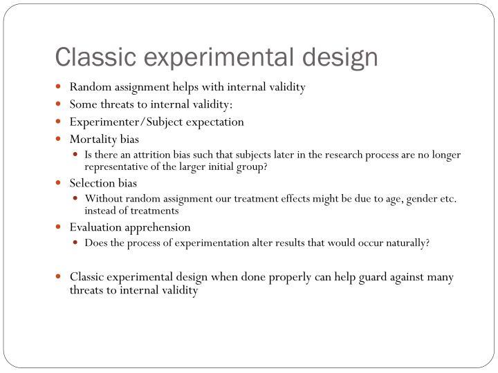 Classic experimental design