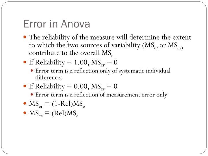 Error in Anova