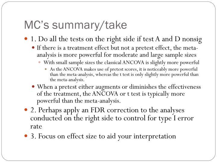 MC's summary/take