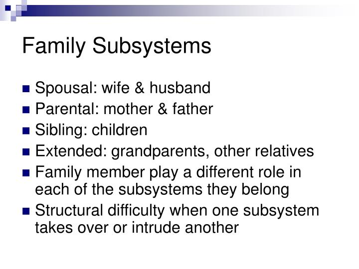 family subsystems Family social work chapter 3 study play true or false: boundary is a symbolic line demarcating who is included in the family or subsystem and who is not, and who fits in the particular subsystem and who does not true _____ the family system forms multileveled structures of systems within systems these can consist of two or more.