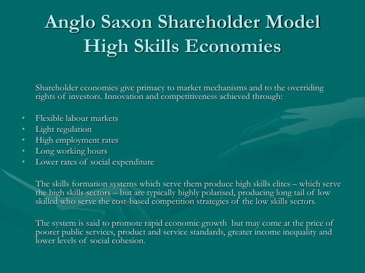 Anglo Saxon Shareholder Model High Skills Economies