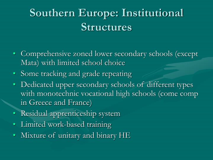 Southern Europe: Institutional Structures
