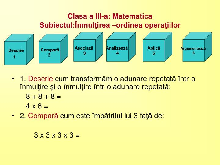 Clasa a III-a: Matematica
