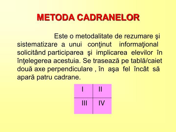 METODA CADRANELOR