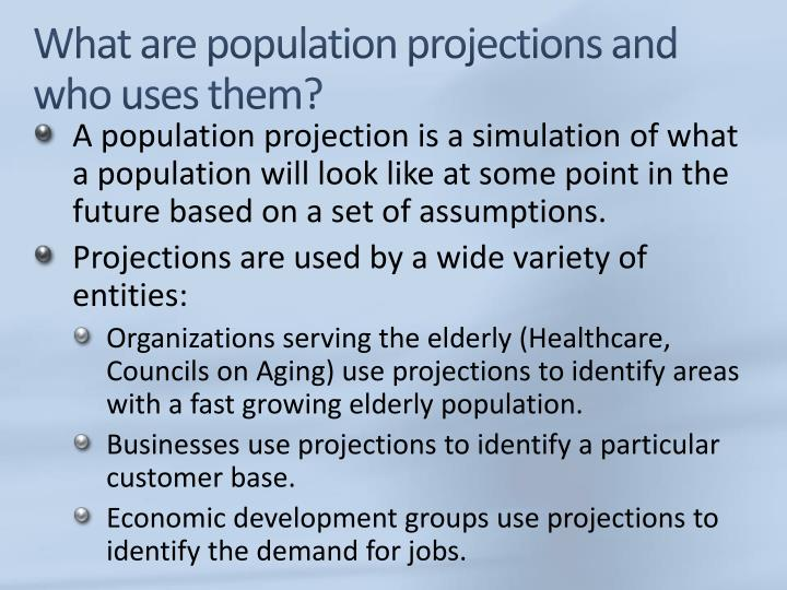 What are population projections and who uses them?