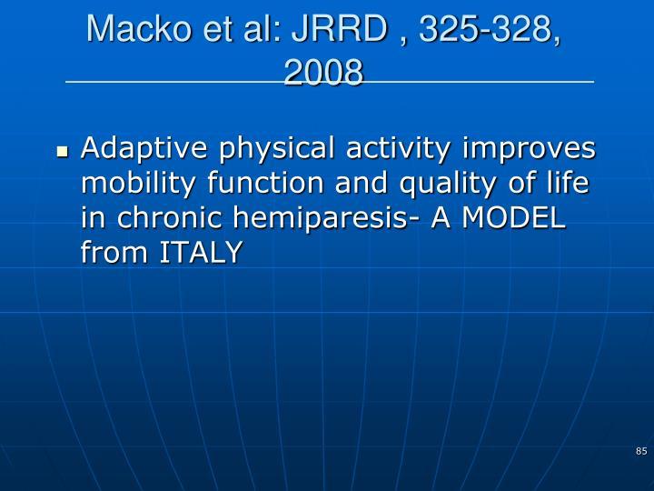 Macko et al: JRRD , 325-328, 2008