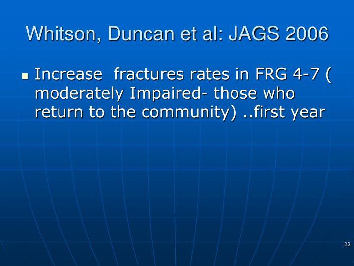 Whitson, Duncan et al: JAGS 2006