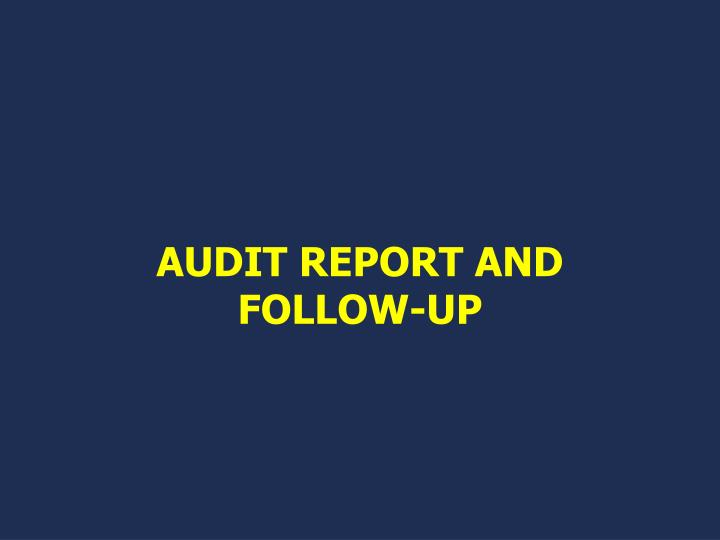 AUDIT REPORT AND FOLLOW-UP
