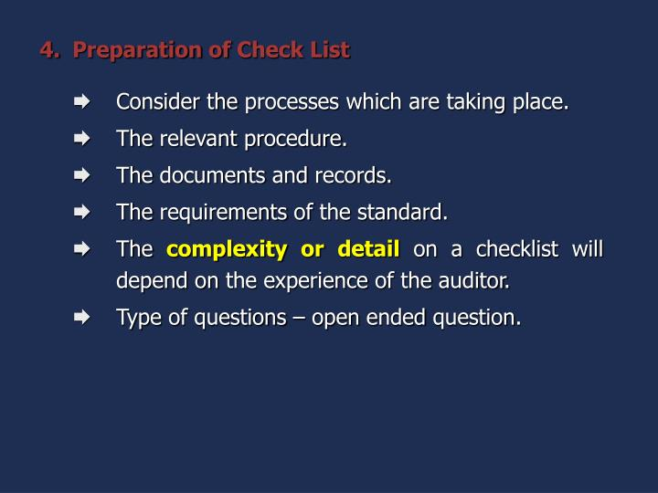 Preparation of Check List